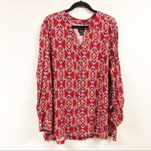 Simply Emma Abstract Button Blouse